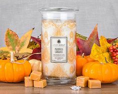 Pumpkin Caramel Candle for $25.00 at JewelScent.com   Enjoy the heady aroma of cinnamon, ground nutmeg and pumpkin. Allspice weaves its spell, blending with the sweet scent of crisped vanilla, both of which are complemented by the rich flavors of caramel and cream.