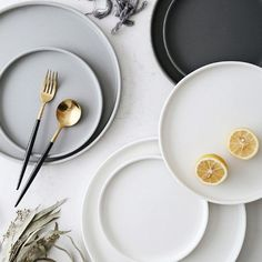 The Sleek Round Dining Plates come in three versatile colors and three functional size options. Every high-quality plate is dishwasher and microwave safe. Find more unique plates at Apollo Box! Pear And Almond Cake, Almond Cakes, Dining Plates, Round Dining, Kitchenware, Tableware, Plate Design, Nordic Style, Ceramic Plates