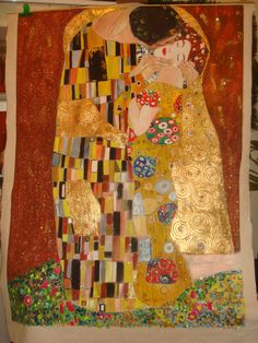 Il Bacio di Klimt, dipinto su stoffa