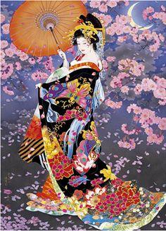 Geisha girl Asian art -add a fan with detail/ or kistune mask and Chinese tiger, Geisha Kunst, Art Geisha, Art And Illustration, Japan Kultur, Asian Artwork, Art Chinois, Art Asiatique, Ouvrages D'art, Art Japonais