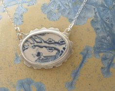 Blue and White Willow Pattern China Pendant by IdiosyncraticThings