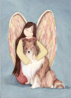 Collie with Angel / Signed Folk Art Lynch Print. $12.99, via Etsy.