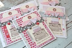 Mish Mash: Valentine's Day cards with vintage typewriter tags - fun idea to adapt to non-valentine themes