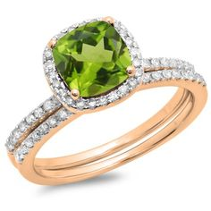 1.75 Carat (ctw) 10K Rose Gold Cushion Cut Peridot & Round Cut White Diamond Ladies Bridal Halo Engagement Ring With Mat #cushioncutdiamonds