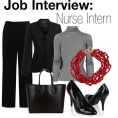 I interviewed for a very competitive new nurse internship on a cardiac surgery unit. It was my first nursing job and I wanted to come off as organized, responsi. Job Interview Outfits For Women, Interview Attire, Nursing Wear, Nursing Clothes, Athleisure Outfits, Business Dresses, Casual Outfits, Work Outfits, What To Wear