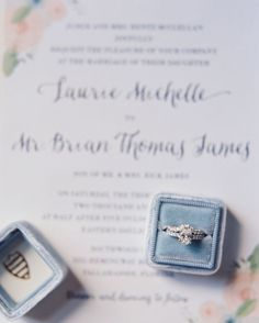 How stunning is this shot of @lauriemjames ring on her Feathered Heart Prints custom invitation?  So excited to find these featured on @theknot real weddings! [ by @cassidycarsonphoto ]