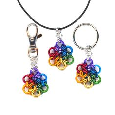 Chainmaille Rainbow Pendant or Keyring or Purse Charm by Lehane, $14.99 #rainbowKeyring @RainbowPendant #RainbowBagCharm #DangleCharm