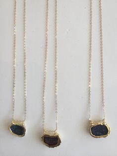 Baby geode necklaces.