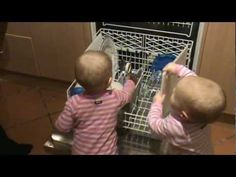 Clever Babies - Twins 12 months old unpacking dishwasher.wmv