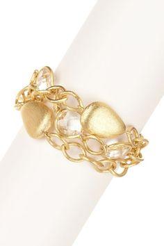 18K Gold Clad Triple Row Rock Crystal Station Bracelet by Rivka Friedman on @HauteLook