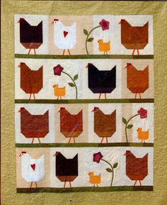 Buttons Bees Quilt Pattern Hen Party Chickens   eBay