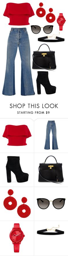 """""""Untitled #725"""" by dittrichashley on Polyvore featuring Reem Acra, RE/DONE, Hermès, Kenneth Jay Lane, Gucci and Tommy Hilfiger"""