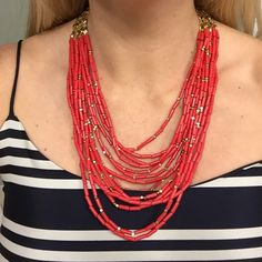 """Stella & Dot Beaded Necklace Red & gold beaded necklace. Comes with a 1"""" extender that can be added for extra length. I was wearing he extender in the pic. Only worn a couple times. Excellent condition :) Stella & Dot Jewelry Necklaces"""