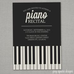 Piano Recital Invitation. Beautiful design.