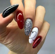 cute-and-beautiful-valentines-day-nails-red-nail-art-designs-pink-nails-heart/ delivers online tools that help you to stay in control of your personal information and protect your online privacy. Burgundy Nail Designs, Burgundy Nails, Red And White Nails, Black Silver Nails, Red Bottom Nails, Black And White Nail Designs, Silver Nail Art, Gold Nail, Burgundy Color