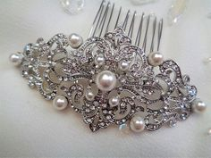 Vintage style Art Deco style nouveau rhinestone pearl bridal hair comb silver wedding 1920's 1930's bridesmaid edwardian swirl