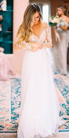 hayley paige wedding dresses real bride rustic straight lace illusion long sleeves v neck floral #weddingdress