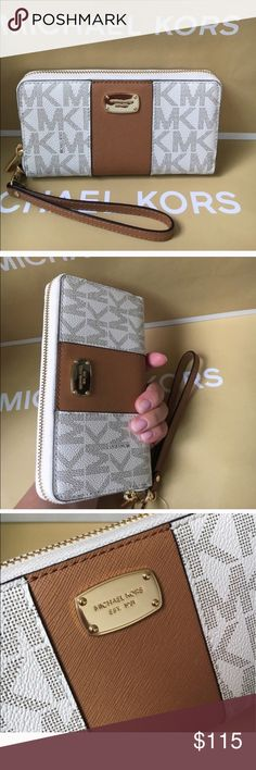 🍥Mk wallet/wristlet🍥vanilla/acorn Authentic brand new with tag. Vanilla /acorn middle color. Gold hard wear. Fit any phone and many compartments fit any of your choice. Michael Kors Bags Wallets