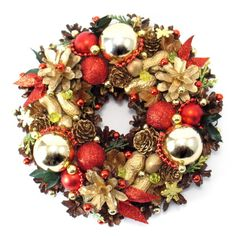 Mały wianek świąteczny z bombkami Ornament Wreath, Ornaments, Christmas Is Coming, Winter Wonderland, Flower Arrangements, Christmas Wreaths, Holiday Decor, Flowers, Pom Poms