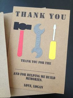 Construction Tools Thank You Cards Custom Made by SimpleandPosh, $14.00