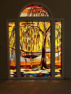 """Photo: """"Willow Tree (Autumn)"""" stained glass window in private residential home."""