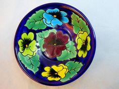 """LOVE the colorful Mexican Talavera pottery! Nice bowl! Mexican TALAVERA COBALT BLUE POTTERY BOWL FLOWERS 6""""Dx2""""T Salsa Decor LEAD FREE #Talavera"""