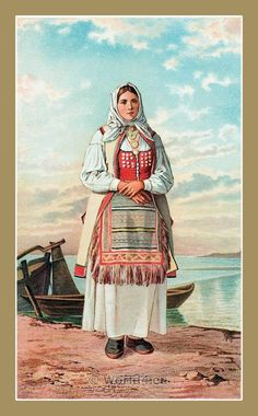 The Serbs in the Adriatic. Their types and costumes 1870-1878. A Woman from Senj