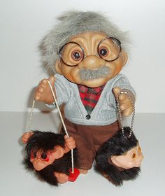 "Old man Dam Troll holding ""Freds Dad"" & SwingTroll"