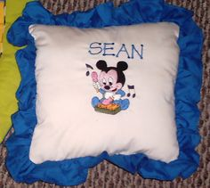 A pillow I machine embroidery and personalized for one of my grandsons