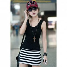 $5.63 Slim Fit Stripes Splicing Sleeveless Mini Dress For Women