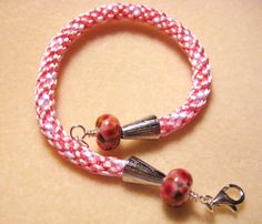 Image detail for -... Handwoven, pink with lampwork beads - Valentine jewelry - Pink Jewelry
