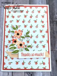 Sweet As A Peach! Thank You Gifts, Thank You Cards, Square Card, Just Peachy, Spring Colors, Small Gifts, Stampin Up, Cool Designs, Card Making