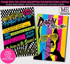 80s invitation 80s party 80s birthday invitations 80s invite 80s