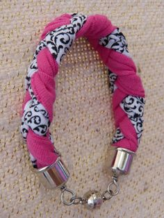 Pink, Black and White Braided Cotton Bracelet by SharinsDesigns, $8.75 USD #Zibbet