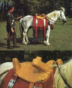 "From ""Die Reiter Roms"" - three books by Marcus Junkelmann (one of the leading experts on the field of Roman reenactment). a reconstruction of a Roman saddle on a pony sized camargue-horse. Junkelmann is wearing a short mailshirt and a long cavalry-sword."