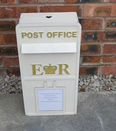 Wooden Wedding Post Box personalised with your own details $125 with shipping from UK; can customize colors!