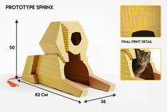 cardboard models of iconic international landmarks as cat playhouses