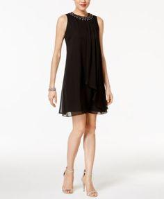 Vince Camuto Sleeveless Embellished Trapeze Dress | macys.com