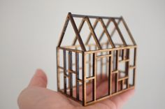 Small geometric birch house framework, 3D architectural line drawing. $35,00, via Etsy.