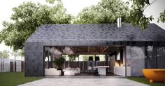 Modern barn stye home makes perfect guest/pool house Architecture Résidentielle, Modern Barn House, Casas Containers, Cabana, Exterior Design, Urban Village, Lap Pools, Indoor Pools, Backyard Pools