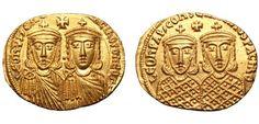 Byzantium AV Solidus ND Constantinople Mint 776/778AD Leo IV, with Constantine VI, Leo III, and Constantine V AV Solidus.