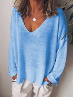 anniecloth Long Sleeve 1 Blue White Apricot Black Gray Women Tops V Neck Casual Cotton-Blend Going Out Tops – Annie Cloth Blouse En Coton, Long Sleeve Tops, Long Sleeve Shirts, Cardigan Long, Mini Robes, Plus Size Casual, Casual Tops For Women, Casual Sweaters, Boho Sweaters