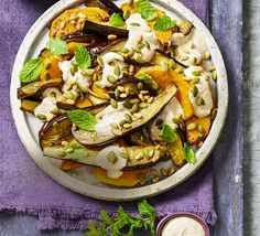 There are heaps of side salads out there, but when it comes to the cooler months, side vegies can be just as delicious! This eggplant & pumpkin roast is easy! Roast Pumpkin Salad, Roast Eggplant, Vegetarian Options, Side Salad, Vegetable Pizza, Spices, Stuffed Peppers, Healthy Recipes, Dinner