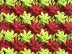 Como Tejer Punto Fantasia de Flores 2 Colores y 2 Agujas (9)