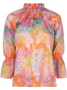 Orange cotton marble-print blouse from Cynthia Rowley featuring an all-over print, a marbled effect, a ruffled neck and three-quarter length sleeves. Easy Short Haircuts, How To Tie Dye, Marble Print, Funky Fashion, Cynthia Rowley, Dress Codes, Printed Blouse, Diy Clothes, Vintage Dresses