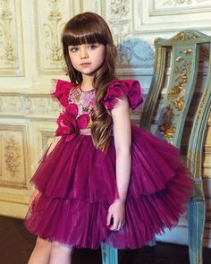 Every little princess should be privileged to own one of these amazing dresses. We adore Mischka Aoki brand, every dress is a Masterpiece of flowers Cute Girl Dresses, Little Girl Dresses, Pretty Dresses, Girl Outfits, Flower Girl Dresses, Beautiful Little Girls, The Most Beautiful Girl, Cute Little Girls, Beautiful Children