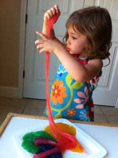 Two Ingredient Rainbow Slime by tottreasuresnorthbay: Genius!  #DIY #Kids #Slime