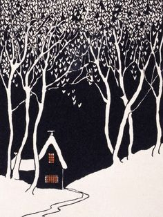 Snowed landscape with lonely house in a Christmas card(1927).  The black and white are inspiring me to do a doodle interpretation!