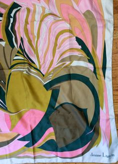 Vintage Lanvin 1960s RARE Psychedelic HUGE Pink Green Silk Scarf ~~ Oversized!!! Made in Italy~~~ Jeanne Lanvin