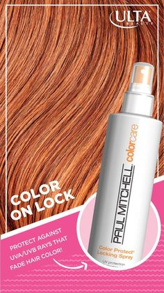 For hair color that lasts, try Paul Mitchell Color Care Color Protect Locking Spray with sunflower seed extract. It protects against UVA/UVB rays, so colored hair stays healthy, shiny and fabulous, rain or shine.